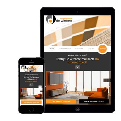 voorstelling van webdesign schilderwerken ronne de wintere op mobiele apparaten