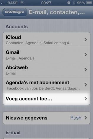 email instellen iphone account toevoegen