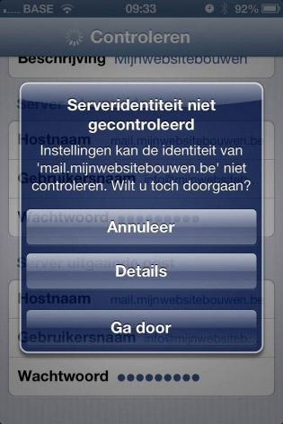 email instellen iphone serveridentiteit