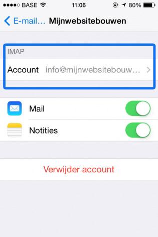 email instellen iphone ingesteld account