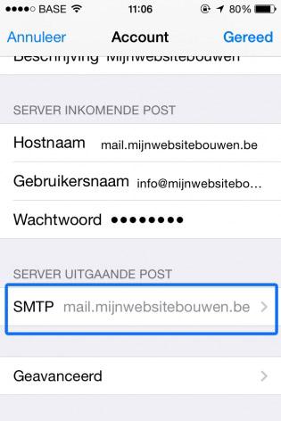 email instellen op iphone smtp