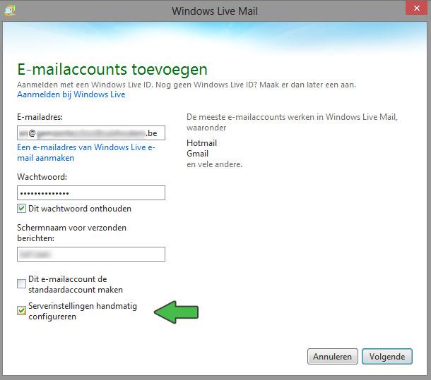 email instellen windows live account toevoegen