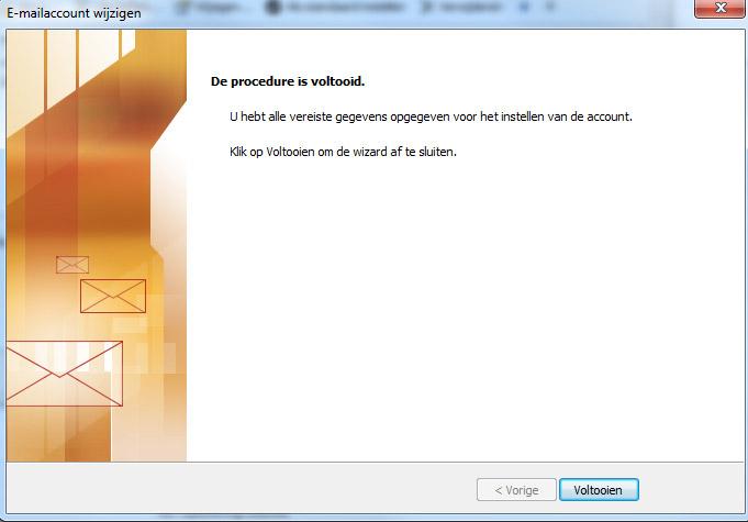 email instellen op outlook configuratie voltooid